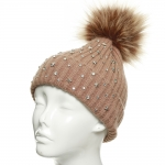 CH8205 Star Studded Beanie W/ Detachable Faux Fur Pom Pom, Taupe