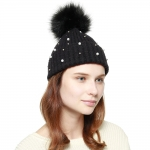 CH8206 Pearl & Stud Deco Beanie W/ Detachable Faux Fur Pom Pom, Black