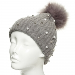 CH8206 Pearl & Stud Deco Beanie W/ Detachable Faux Fur Pom Pom, Grey