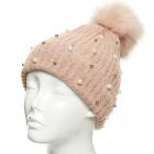 CH8206 Pearl & Stud Deco Beanie W/ Detachable Faux Fur Pom Pom, Pink