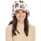 CH9404 Leopard Pattern Faux Fur Bucket Hat, Cream