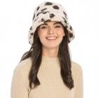 CH9404 Leopard Pattern Faux Fur Bucket Hat, Pink