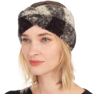CHB001 Buffalo Plaid Pattern Soft Feel Headband, Black