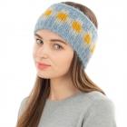 CHB1962 Multi Color Checkerboard Pattern Winter Headband, Blue