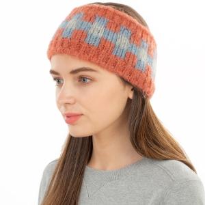 CHB1962 Multi Color Checkerboard Pattern Winter Headband, Coral