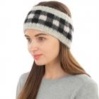 CHB1962 Multi Color Checkerboard Pattern Winter Headband, Grey