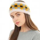 CHB1962 Multi Color Checkerboard Pattern Winter Headband, Ivory