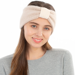 CHB1963 Solid Color Frizzy Single Knot Headband, Beige