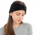 CHB1963 Solid Color Frizzy Single Knot Headband, Black