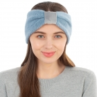 CHB1963 Solid Color Frizzy Single Knot Headband, Blue