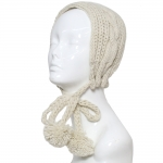 CHB810 Cable Knitted Headband W/ Adjustable Pom Pom Strings, Beige