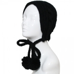 CHB810 Cable Knitted Headband W/ Adjustable Pom Pom Strings, Black