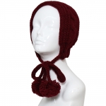 CHB810 Cable Knitted Headband W/ Adjustable Pom Pom Strings, Burgundy