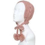 CHB810 Cable Knitted Headband W/ Adjustable Pom Pom Strings, Pink