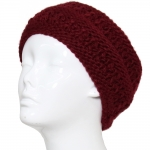 CHB811 Patterned Cable Knitted Headband, Burgundy