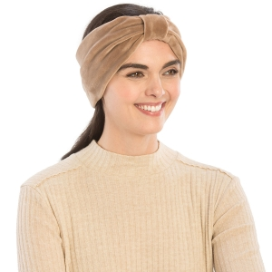 CHB812 Faux Suede Knotted Headband, Taupe