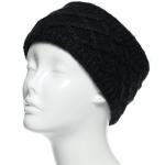 CHB813 Diamond Pattern Knitted Headband, Black
