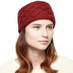 CHB813 Diamond Pattern Knitted Headband, Burgundy
