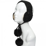 CHB814 Cable Knitted Ear Muff W/ Pom Pom Strings, Black