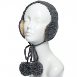 CHB814 Cable Knitted Ear Muff W/ Pom Pom Strings, Grey