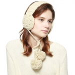 CHB814 Cable Knitted Ear Muff W/ Pom Pom Strings, Ivory