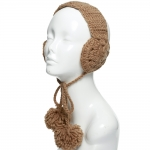 CHB814 Cable Knitted Ear Muff W/ Pom Pom Strings, Taupe