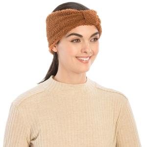 CHB983 Teddy Bear Textured Headband, Brown
