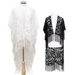 CK203 Back String Designed Lace Kimono W/ Fringe