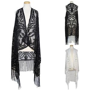 CK302 Lace Print Fringe Vest