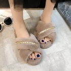 CSL005 Solid Faux Fur W/Rhinestone Line Slippers, Taupe