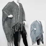 CMF5142 CABLE KNIT RUANA WITH FRINGE
