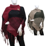 CMF5696 TURTLE NECK PONCHO WITH TASSELS
