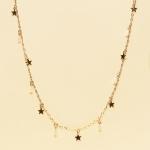 CN-2322 Little Stars & Tiny Rhinestone Loose Necklace, GWT