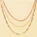 CN-2342 Gold Chain & Solid Beads Triple Layered Necklace, GCO