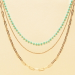 CN-2342 Gold Chain & Solid Beads Triple Layered Necklace, GTQ