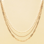 CN-2342 Gold Chain & Solid Beads Triple Layered Necklace, GWT