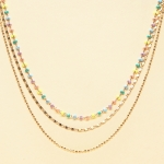 CN-2344 Solid Beads & Small Chain Multi Layered Necklace, GMU