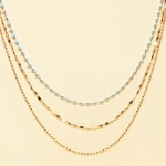 CN-2344 Solid Beads & Small Chain Multi Layered Necklace, GTQ