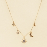 CN-2607 Shining Star & Crescent Moon Charm Necklace, Gold