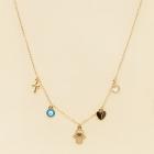 CN-2704 Hamsa & Evile Eye & Heart & Cross Necklace, GNBU