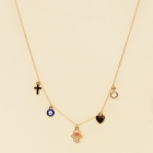 CN-2704 Hamsa & Evile Eye & Heart & Cross Necklace, GRD