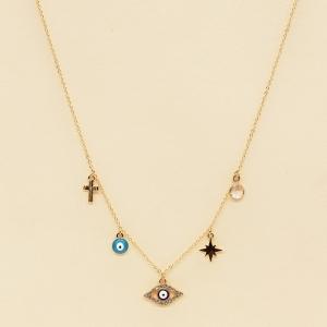 CN-2705 Third eye & Evil Eye & Starburst & Cross Charm Necklace, GNBU
