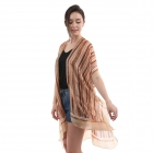 CP0403 Multi Color Stripes Pattern Summer Poncho, Taupe