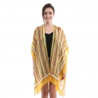 CP0403 Multi Color Stripes Pattern Summer Poncho, Yellow