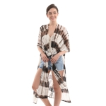 CP0411 Tie-dye Summer Long Poncho, Coffee