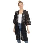 CP0412 Solid Color Crochet long Kimono, Black