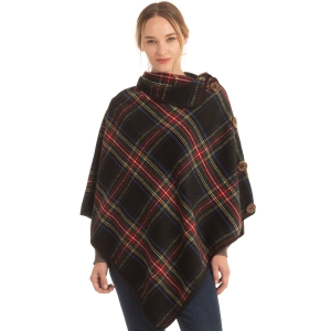 CP0535 Multi Plaid Color Turtleneck Poncho W/ Buttons, Black