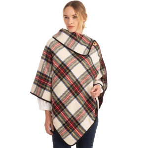 CP0535 Multi Plaid Color Turtleneck Poncho W/ Buttons, Ivory