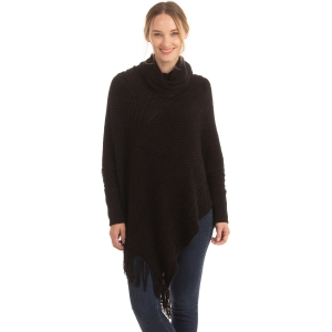 CP0545 Solid Color Luxe Sleeve Poncho, Black