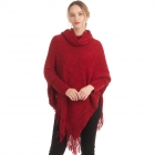 CP0545 Solid Color Luxe Sleeve Poncho, Burgundy